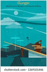 Googie Mid Century Modern Architectural Style Retro Futurism Poster