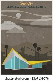Googie Mid Century Modern Architectural Style Poster Vintage Colors and Texture