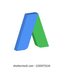 Google adwords, letter icon in isometric style. Vector illustration. EPS 10