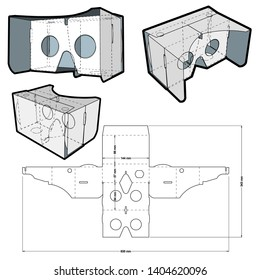 Google Cardboard and Die-cut Pattern. The .eps file is full scale and fully functional. Prepared for real cardboard production.