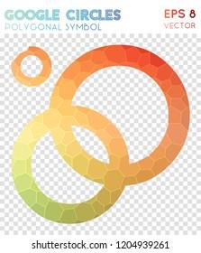 Google circles polygonal symbol, amusing mosaic style symbol. Uncommon low poly style, modern design.