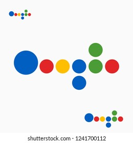 Google inscription made of colored circles isolated on a white background. Word written in colored circles. Web design. Creative inscription Google. Colored circles symbolizing the inscription