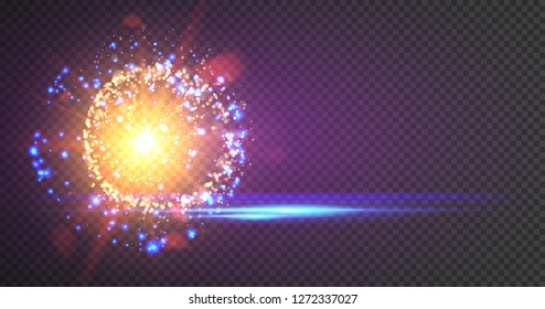 Goold glitter particles background effect. Light effect in an explosion on a black background. Vector illustration 3D, of realistic vector, EPS 10