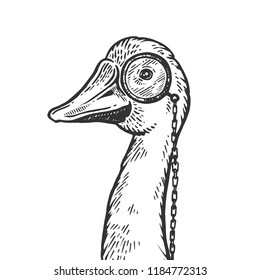 Goose bird witn monocle engraving vector illustration. Scratch board style imitation. Black and white hand drawn image.