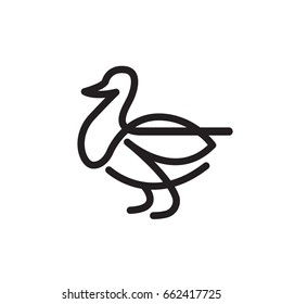 Goose or duck vector flat thin line illustration - illustration home farm poultry, the concept of goose meat, feather products and eggs.
