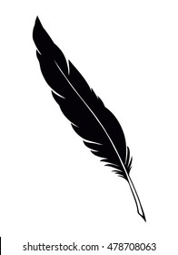 Goose feather isolated on white paper backdrop with space for text. Hand drawn picture sketch in artistic engraving style