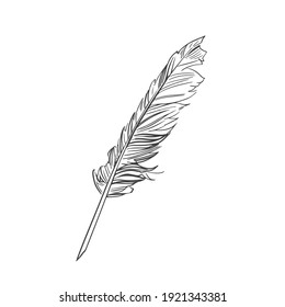 Goose feather sketch. Inkwell pen vector illustration in retro style. Stationery pen