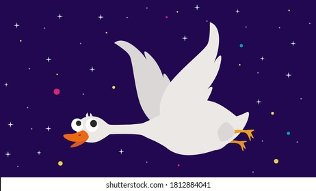Goose icon. Flat illustration of goose vector icon for web design. The Biggest Water Bird that Can Fly. Goose with wings flying flat vector image.