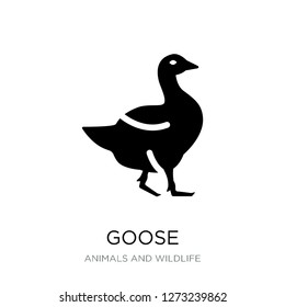goose icon vector on white background, goose trendy filled icons from Animals and wildlife collection, goose simple element illustration