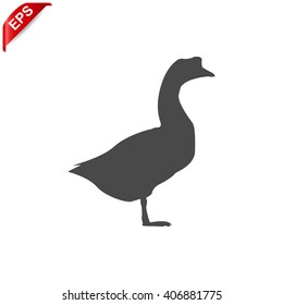 goose icon, vector  goose silhouette , isolated goose sign
