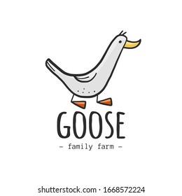 Goose logo design isolated on white. Illustration for business, website, shirt. Vector sketch