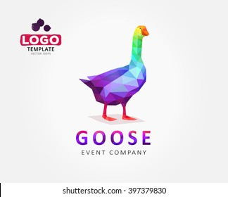 Goose logo design in polygon style. Funny cartoon logotype of bird in rainbow color. Colorful illustration for business, website, shirt. Trendy low poly animal logo.