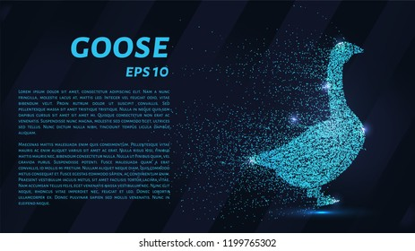 Goose of the particles. Goose consists of circles and points. Vector illustration
