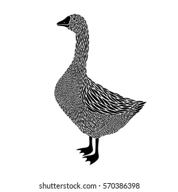 Goose silhouette. Goose logo, goose sign.