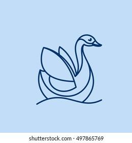 Goose, swan, bird line logo vector character. Animal design elements for sport team branding, T-shirt, label, badge, card or illustration.