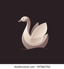 Goose, swan, bird logo vector character. Animal design elements for sport team branding, T-shirt, label, badge, card or illustration.