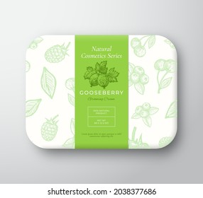 Gooseberry Bath Cosmetics Package Box. Abstract Vector Wrapped Paper Container with Label Cover. Packaging Design. Modern Typography and Hand Drawn Berries Background Pattern Layout. Isolated.