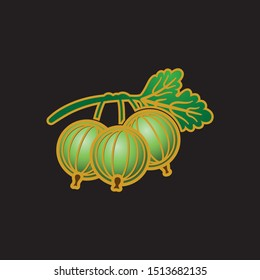 Gooseberry flat icon. Vector illustration isolated on a black background.