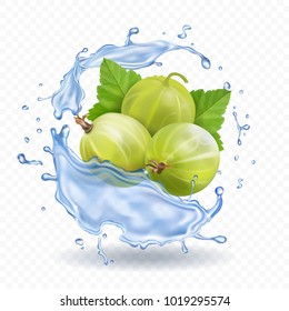 Gooseberry fruit in water splash with leaves. juice or jam label realistic