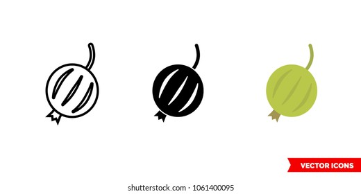 Gooseberry icon of 3 types: color, black and white, outline. Isolated vector sign symbol.
