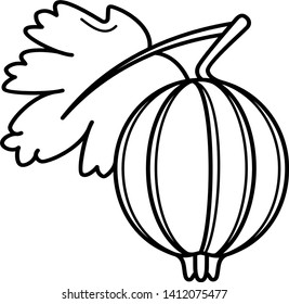 Gooseberry and leaf icon in outline style