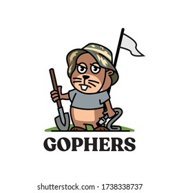 gophers mascot wearing a military hat carrying a shovel and a hose on a golf course