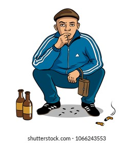 Gopnik russian hooligan man pop art retro vector illustration. Isolated image on white background. Comic book style imitation.