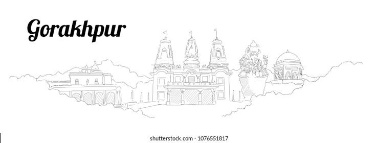 Gorakhpur CITY city vector panoramic hand drawing illustration