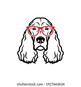 Gordon setter dog breed with red eyeglasses - isolated vector illustration