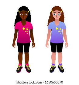 Gorgeous African American girl with curly hair. Girls of different races . Characters European and African girl.