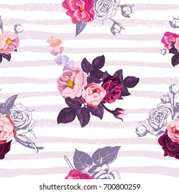 Gorgeous botanical seamless pattern with small half-colored bouquets of wild roses against lilac horizontal paint trails on background. Vector illustration for festive backdrop, textile print.