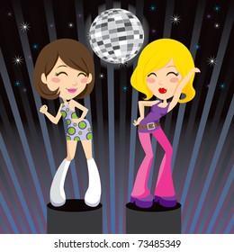 Gorgeous brunette and blond go-go girls dancing disco music on nightclub podium