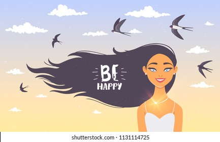 Gorgeous brunette lady with long hair and swallows flying in the sky. Vector illustration. Young and happy woman
