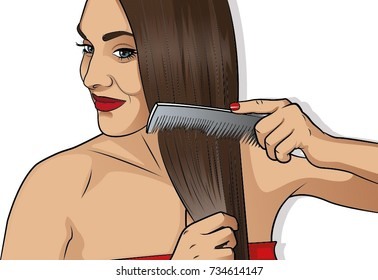 Gorgeous brunette woman brushing her healthy hair