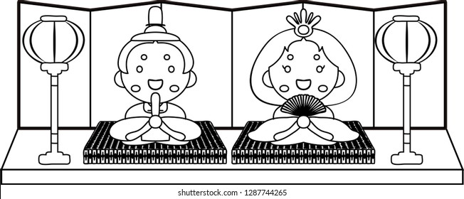 Gorgeous cute Japanese Hina dolls outline