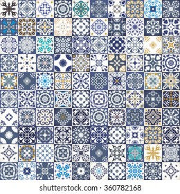 Gorgeous floral patchwork design. Moroccan or Mediterranean square tiles, tribal ornaments. For wallpaper print, pattern fills, background, surface textures. Indigo blue white teal aqua. seamless.