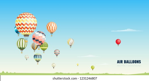 Gorgeous horizontal banner, background or picturesque landscape with hot air balloons flying in clear blue sky. Festival of beautiful manned aircrafts. Vector illustration in flat cartoon style.