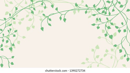 Gorgeous ivy and vine vector in green outline on beige background around border in pretty climbing design. Floral nature border for flower shop or garden club or spring decorations.
