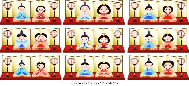Gorgeous Japanese Hina dolls set