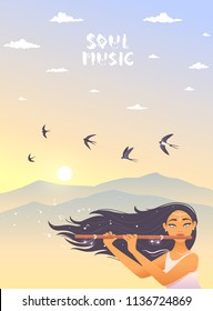 Gorgeous lady with long hair playing flute. Vector illustration. Young and happy woman