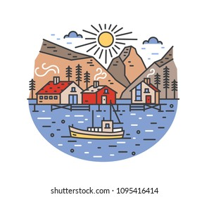Gorgeous landscape with boat sailing in sea and passing by stilt houses, spruce trees and mountains. Marine journey or adventure travel location. Colored vector illustration in modern line art style