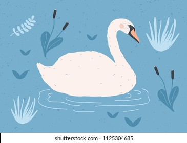 Gorgeous lonely white swan swimming in water of pond or lake among plants. Adorable cartoon wild bird, game fowl or waterfowl. Flat colorful hand drawn vector illustration in modern trendy style.