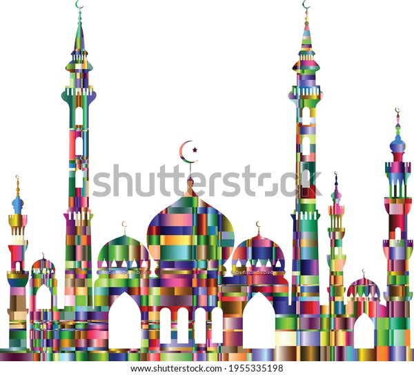 Gorgeous looking colorful vector mosque.