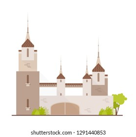 Gorgeous medieval castle, fairytale fortress, fantastic citadel or stronghold isolated on white background. Beautiful ancient historical building with spires. Flat cartoon vector illustration.