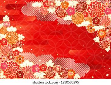 A gorgeous pattern background like a kimono in Japan