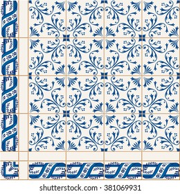 Gorgeous   pattern from colorful floral Turkish, Moroccan, Portuguese  Azulejo tiles and border, ornaments.  Islamic Art.