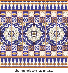 Gorgeous seamless patchwork pattern from colorful Moroccan tiles, ornaments. Can be used for wallpaper, pattern fills, web page background, surface textures.