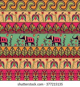 Gorgeous seamless pattern in the bohemian style. Tribal print with hand drawn elements: birds, elephants, flowers, leaves, and more. Repeating ethnic background. Indian, arabic, african motif. Vector