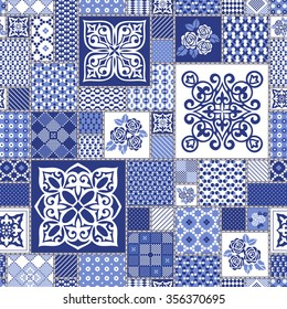Gorgeous seamless pattern from dark blue  Moroccan tiles, ornaments. Vector patchwork pattern with geometric and floral  ornaments.