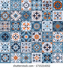 Gorgeous seamless pattern in a fashionable color palette Moroccan, Portuguese tiles, Azulejo, ornaments. Can be used for wallpaper, pattern fills, web page background, surface textures. Vector